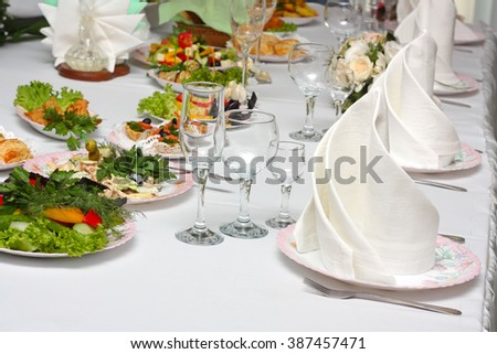 Table setting, dining table with snacks