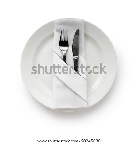 Table Setting,Folded Napkin - stock photo