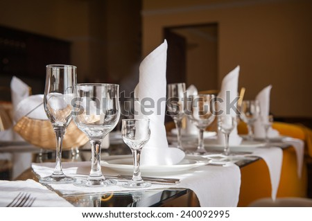 table setting for a holiday in the restaurant. - stock photo