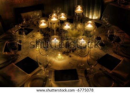 Table setting for a wedding - stock photo