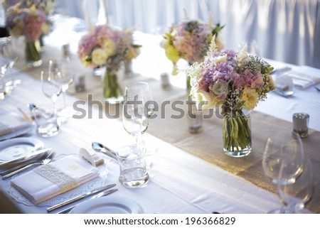Table setting for an wedding reception or an event - stock photo