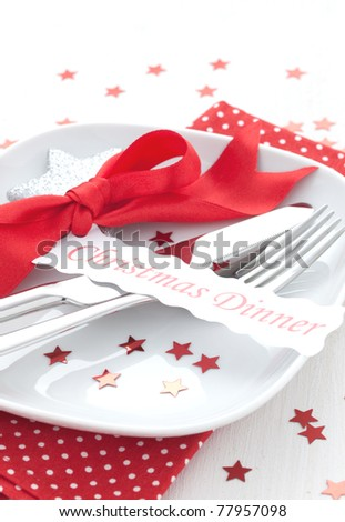 table setting for Christmas - stock photo