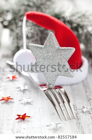 table setting for christmas with decoration - stock photo