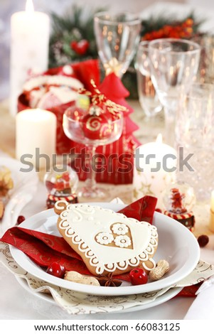 Table setting for Christmas with fresh fruits