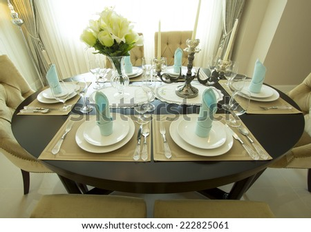 table setting for dinner - stock photo