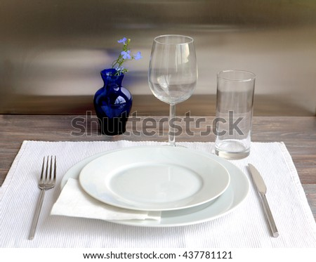 Table setting for dinner. Wooden table with white and transparent glassware for one person. & Table Setting Dinner Wooden Table White Stock Photo (Edit Now ...