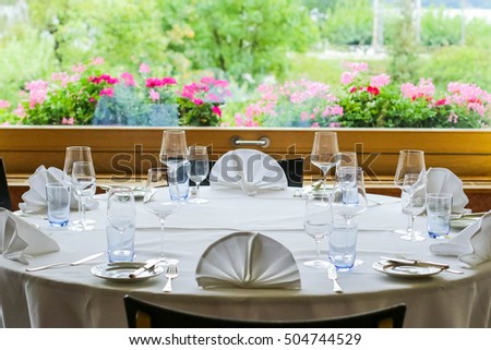 Table setting for event or wedding.