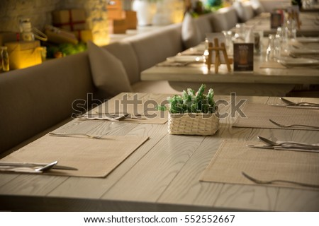 Table Setting For Lunch in Restaurant & Table Setting Lunch Restaurant Stock Photo (Download Now) 552552667 ...