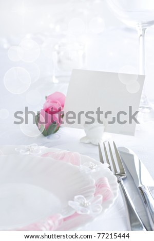 Table setting for romantic dinner or wedding - stock photo