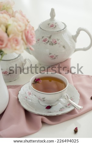table setting for tea party - stock photo