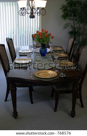 Table setting for Thanksgiving - stock photo