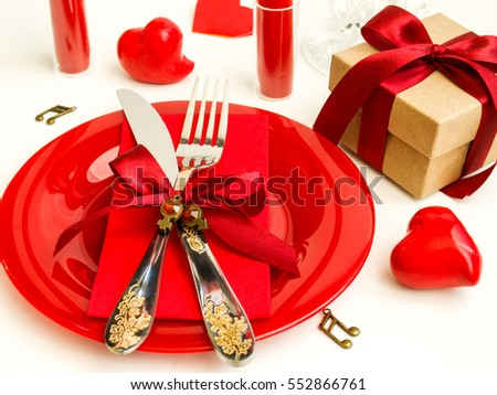table setting for Valentines day and wedding