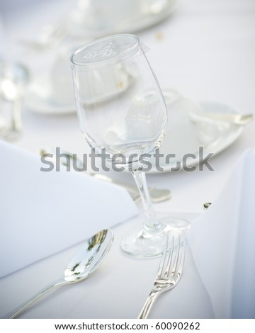 Table setting for wedding - stock photo