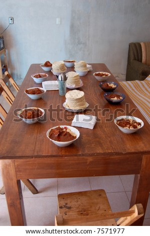 Table setting in a humble mexican home in Mexico - stock photo
