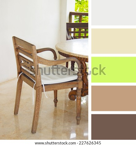 table setting in cafe.  colour palette swatches. pastel hues - stock photo