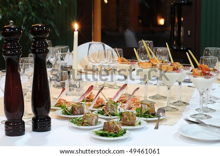 Table setting in luxury restaurant. - stock photo