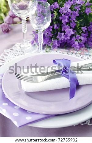 Table setting in purple color - 4 - stock photo