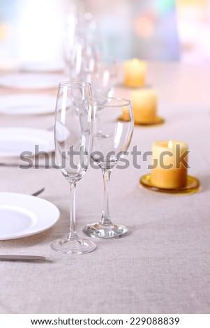 Table setting in restaurant - stock photo