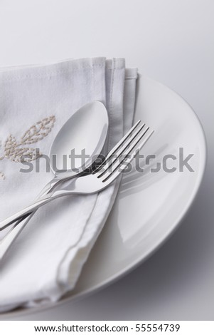 table setting of the fork and spoon - stock photo