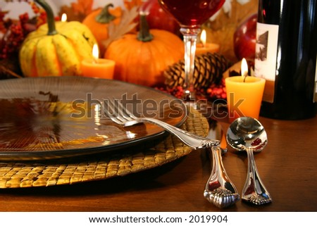 Table setting ready for Thanksgiving