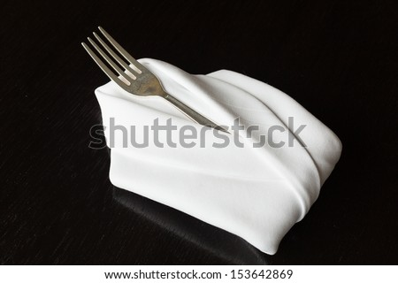 Table setting with blank menu card with white linen - stock photo