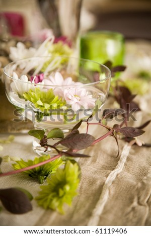 Table setting with lots of beautiful decoration - stock photo