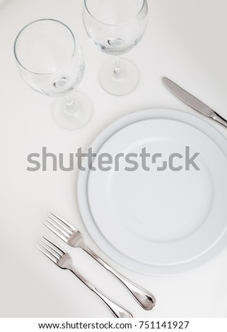 glasses table setting. Table Setting With Plate, Forks, Knife And Glasses S