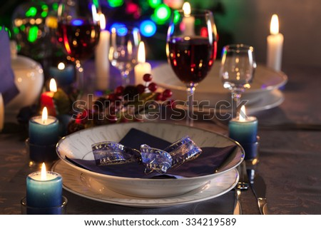 Table settings on the Christmas table. Shallow depth of field - stock photo