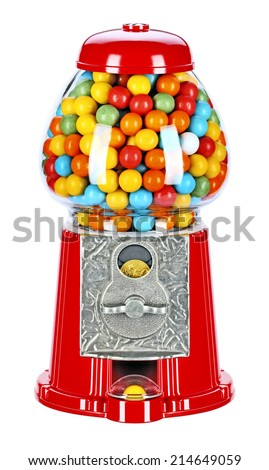 Table-sized self-gum machine, which works by throwing money. Painted in cheerful colors, massive, metal-glass structure.