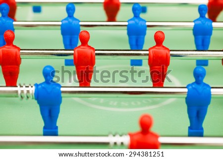 table soccer figures, closeup view