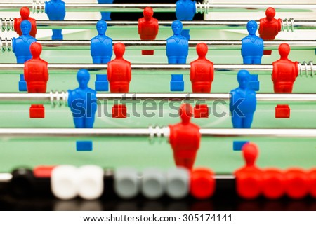 table soccer figures, closeup view - stock photo