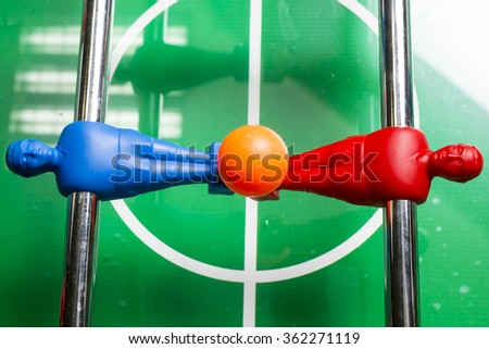 Table Soccer or Foosball Kicker Game, Selective Focus - stock photo