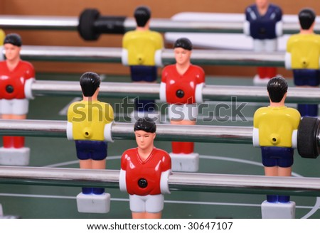table soccer with players - stock photo