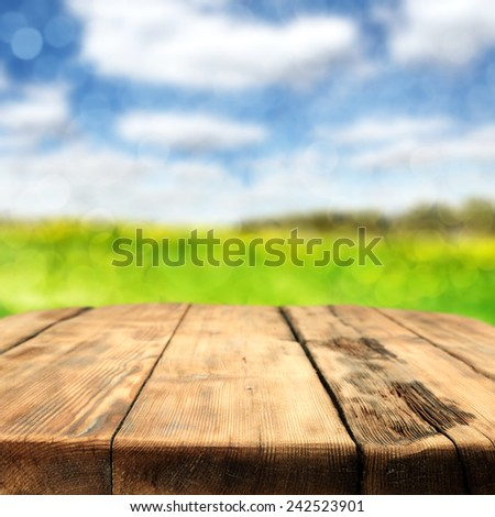table space and spring landscape  - stock photo