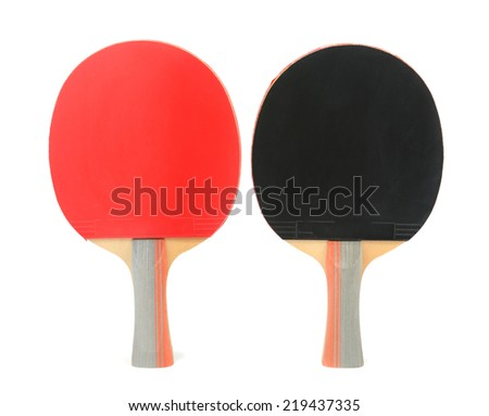 table tennis bats isolated on white background - stock photo