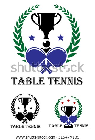 Table Tennis emblem for a championship with crossed bats and a trophy enclosed in a foliate laurel wreath - stock photo
