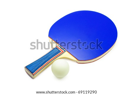 Table tennis racket and ball. Isolated on a white background. - stock photo