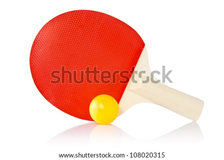 Table-tennis racket and ball on a white background