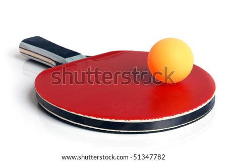 Table tennis racket and ball on a white background - stock photo