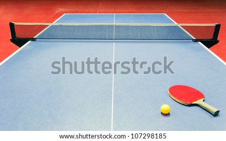 Table tennis - racket, ball, table - stock photo