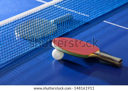table tennis rackets top view of table tennis racket lying on the tennis table on