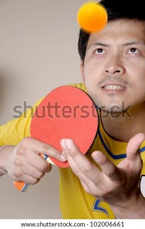 Table Tennis serve for win in sport game.
