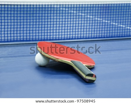 Table Tennis Still Life with Selective Focus - stock photo