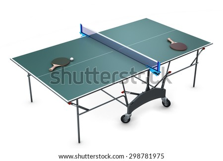 Table tennis with tennis rackets and a ball on it isolated on white background. 3d illustration. - stock photo