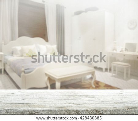 Table Top And Blur Background In Bedroom - stock photo