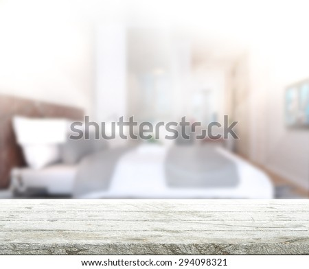 Table Top And Blur Background In the Bedroom - stock photo