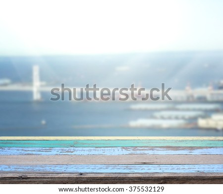 Table Top And Blur Building Of The Background