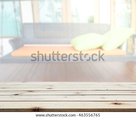 Table Top And Blur Living Room Of The Background