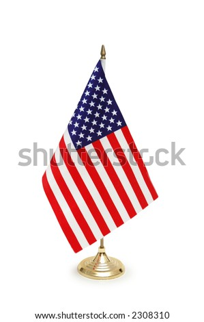 Table-top flag of USA isolated on white