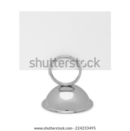 Table Top Reserved Sign Holder and Card Isolated on White Background. - stock photo